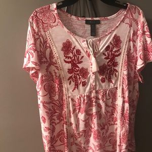 Style and Co Red and White Print Top-size XL